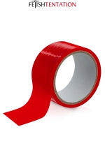 Ruban de soumission rouge 15m - Fétish Tentation : Ruban de soumission auto-fixant en PVC rouge pour vos jeux intimes, 15 mètres de long par 5 cm de large.