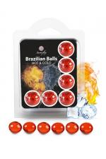 6 Brazillian balls effet chaud & froid : La chaleur du corps transforme la brazilian ball en liquide apportant chaleur puis frisson, votre imagination s'en trouve exacerbée.