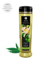 Huile de massage BIO Thé vert exotique - Shunga : Huile de massage érotique BIO et embrassable au parfum de thé vert exotiques par Shunga.