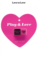 Dés Play & Love : 1 paire de dé coquins signés Love to Love, pour pimenter vos jeux entre adultes consentants et laisser le hasard guide vos gestes.