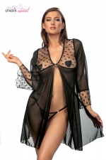 Déshabillé  Roisin - Anaïs : Déshabillé en tulle et fine résille à motif étoilé, avec son string assorti.